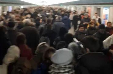 Петербуржцы пожаловались на пробки на станции «Василеостровская»