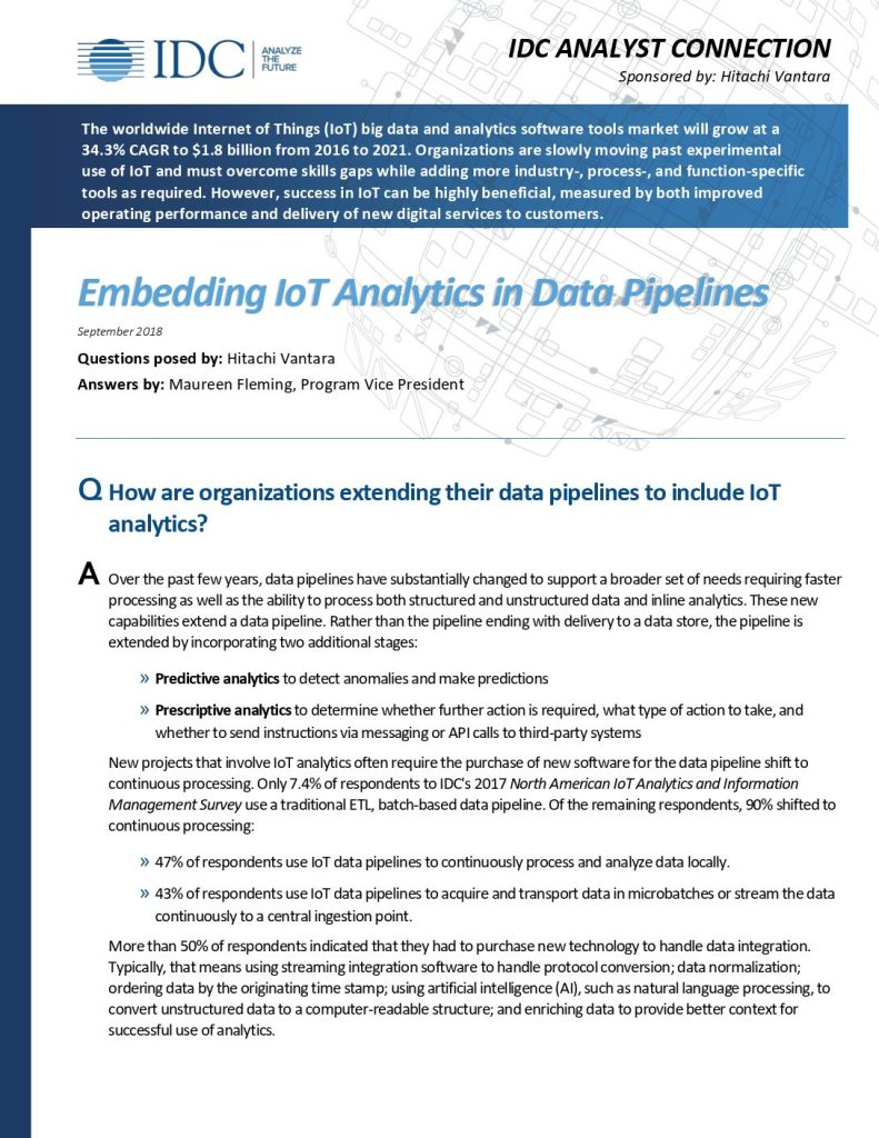 IDC Analyst Questionnaire: Best Practices for Embedding IoT Analytics into Data Pipelines