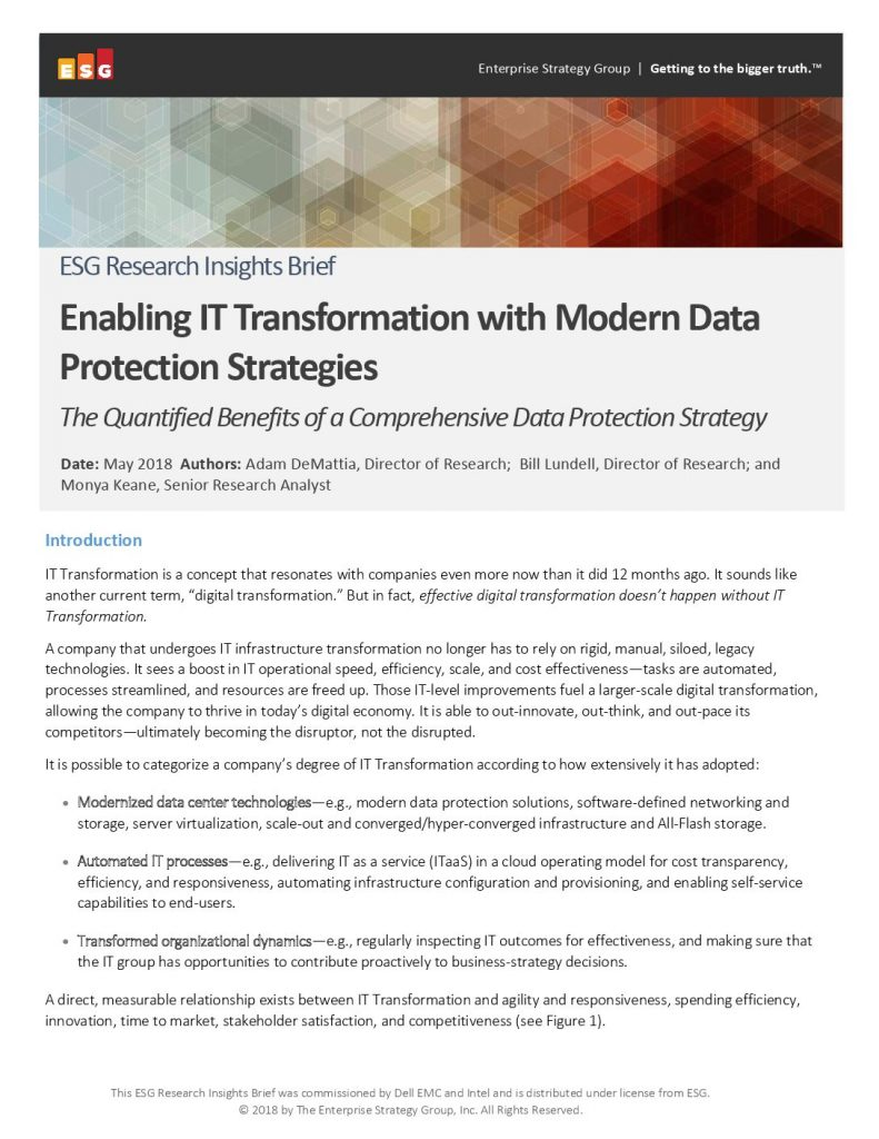 Enabling Information Technology (IT) Transformation with Modern Data Protection Strategies