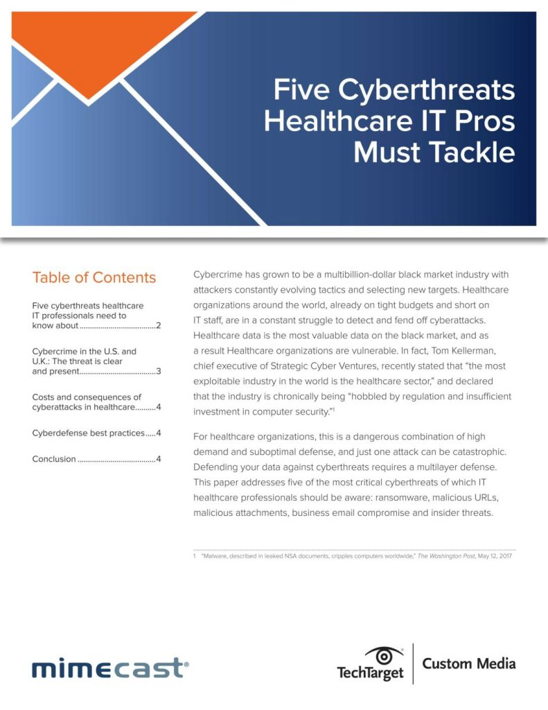 5 Cyberthreats IT Healthcare Pros Must Tackle