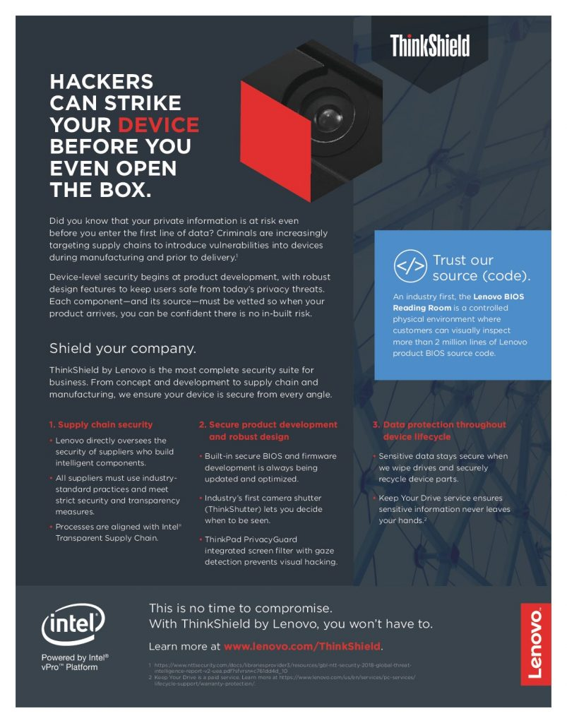Learn how Lenovo and Intel are using device-level security