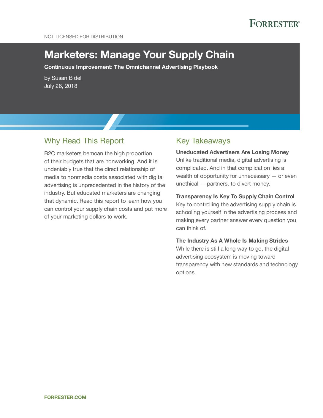 Download Forrester Marketers Manage your supply chain