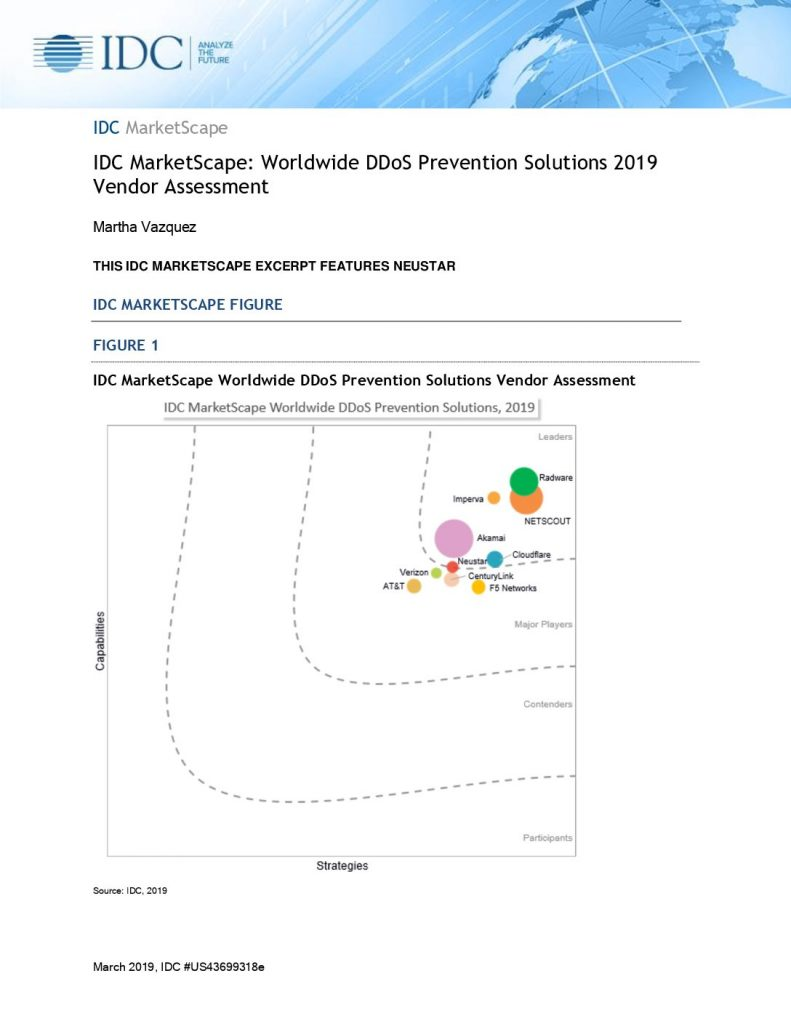 IDC MarketScape: Worldwide DDoS prevention solutions 2019 vendor assessment