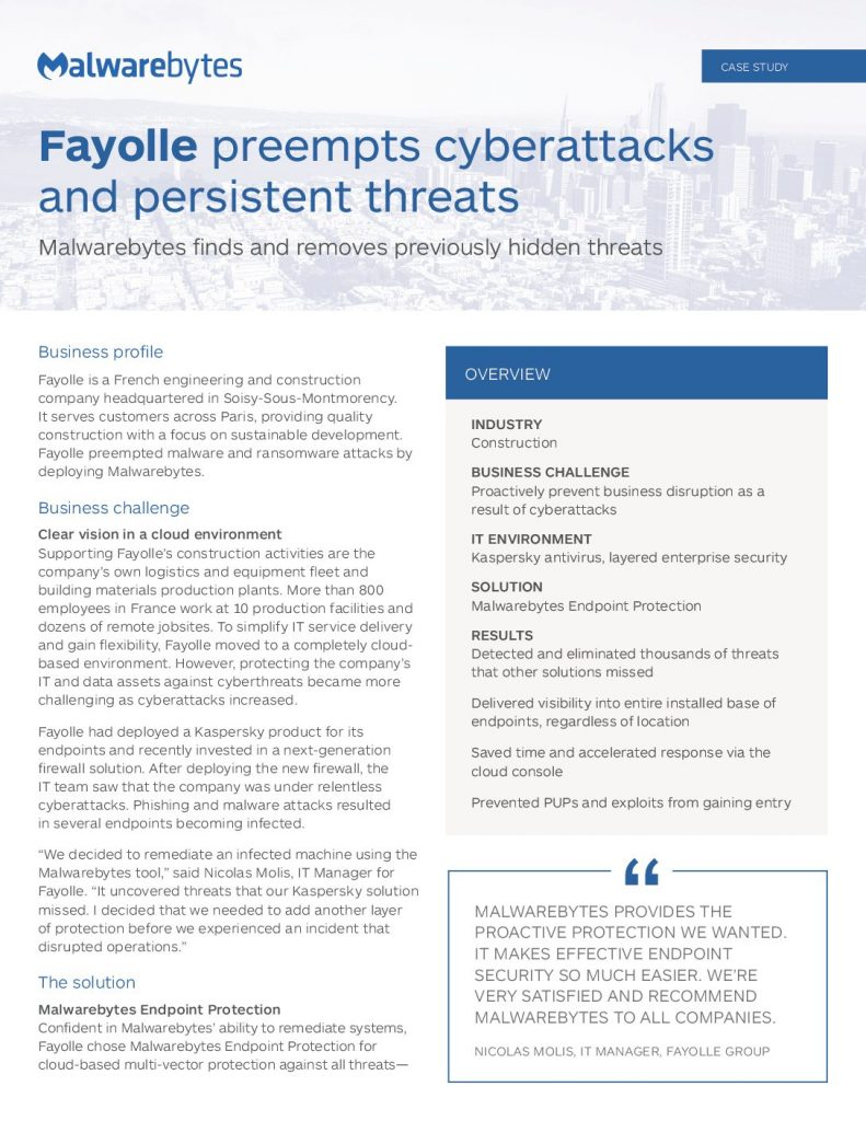 Fayolle Preempts Cyberattacks And Persistent Threats