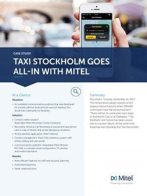 TAXI STOCKHOLM GOES ALL-IN WITH MITEL