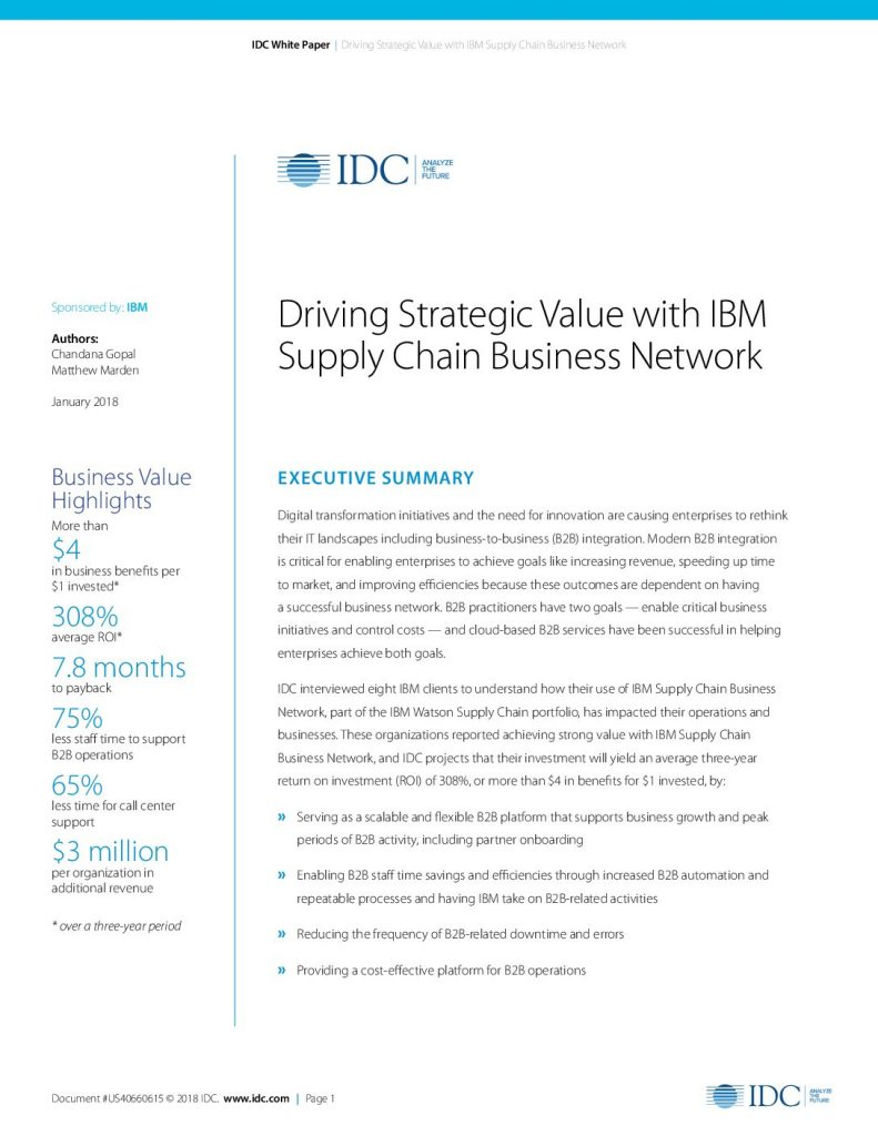 Download Driving Strategic Value with IBM Supply Chain