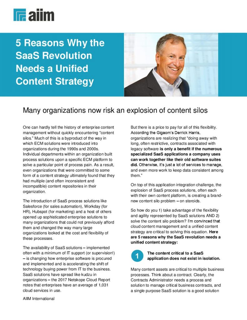 AIIM: 5 Reasons Why the SaaS Revolution Needs a Unified Content Strategy