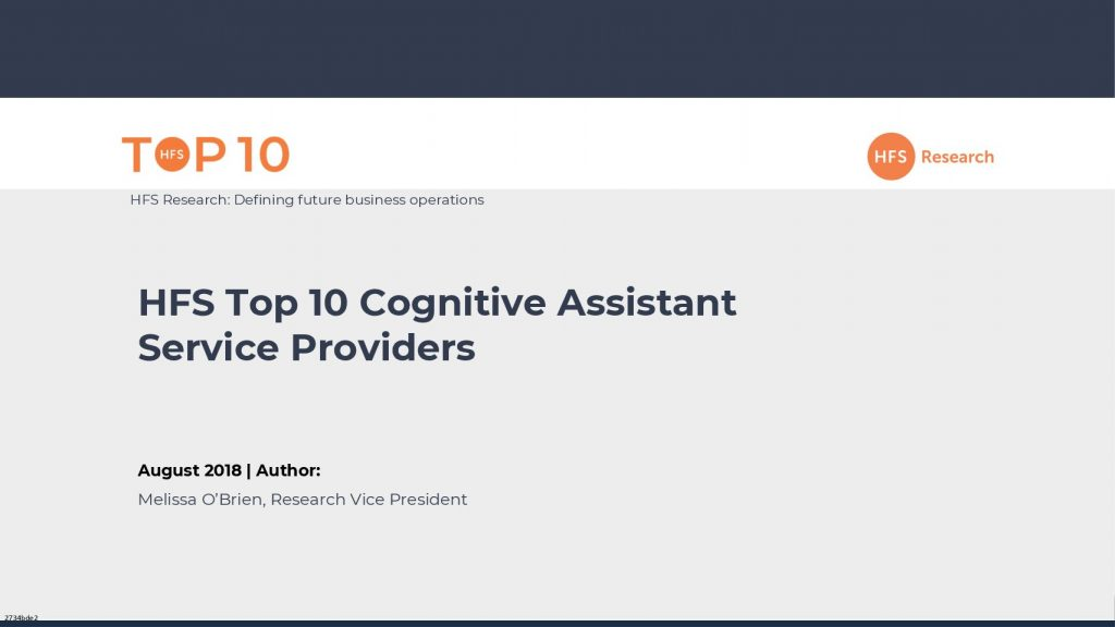 HFS Top 10 Cognitive Assistant Service Providers