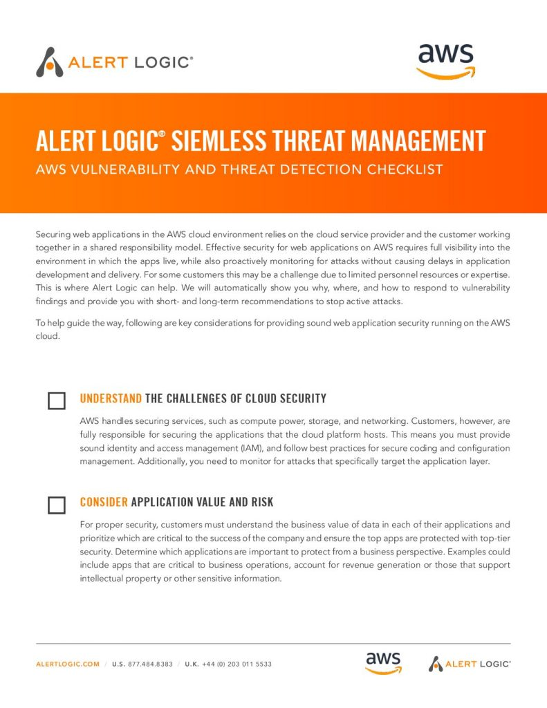 Download Siemless Threat Management AWS Vulnerablility and