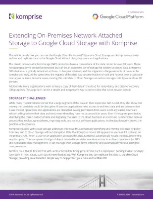 Extending On-Premises Network-Attached Storage to Google Cloud Storage with Komprise