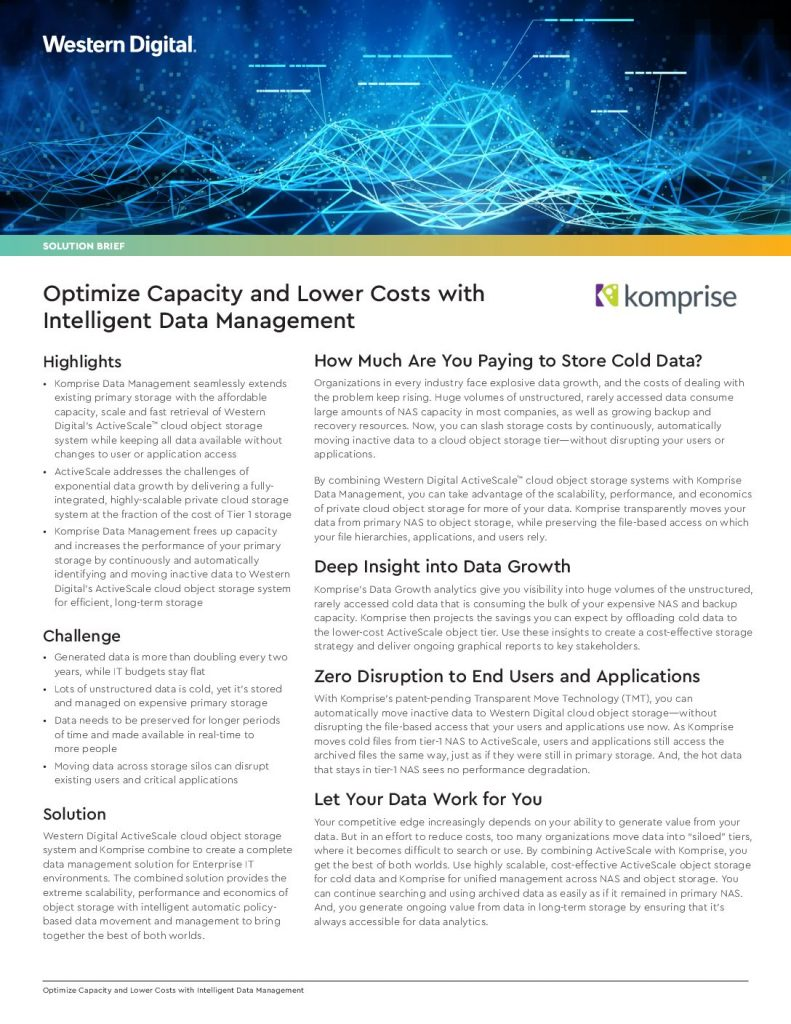 Optimize Capacity and Lower Costs with Intelligent Data Management