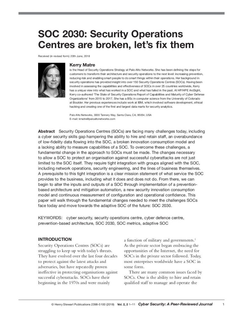 SOC 2030: Security Operations Centers are broken, let's fix them