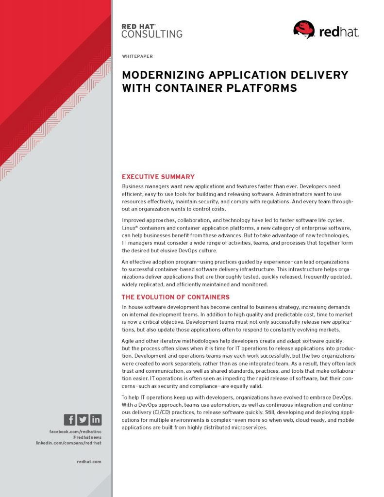 Modernizing Application Delivery with Container Platforms