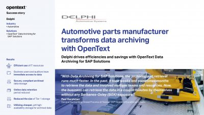 Automotive parts manufacturer transforms data archiving with OpenText