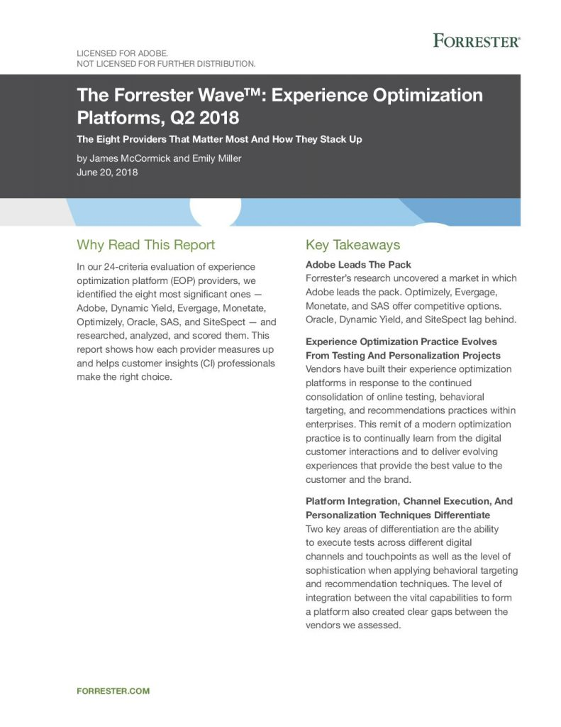 2018 Forrester Wave: Experience Optimization Platforms