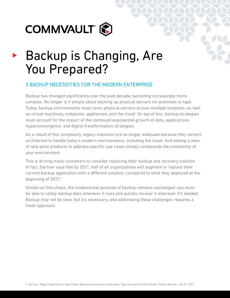 Backup is Changing – Are You Prepared?