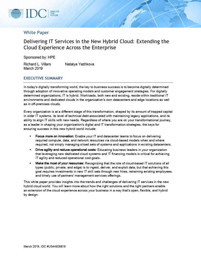 IDC Whitepaper: Delivering IT Services in the New Hybrid Cloud: Extending the Cloud Experience Across the Enterprise