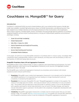 Couchbase vs. MongoDB™ for Query