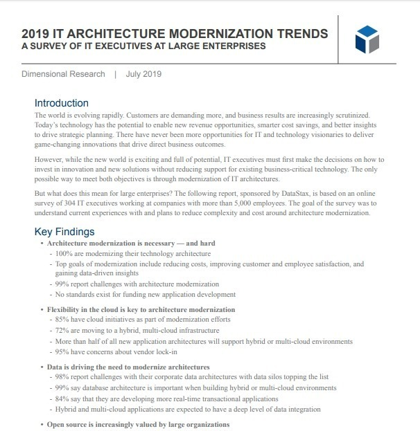 NEW RESEARCH REPORT: 2019 IT Architecture Modernization Trends