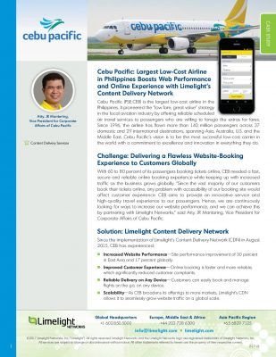 Case Study - Cebu Pacific: Largest Low-Cost Airline in Philippines Boosts Web Performance and Online Experience with Limelight's Content Delivery Network