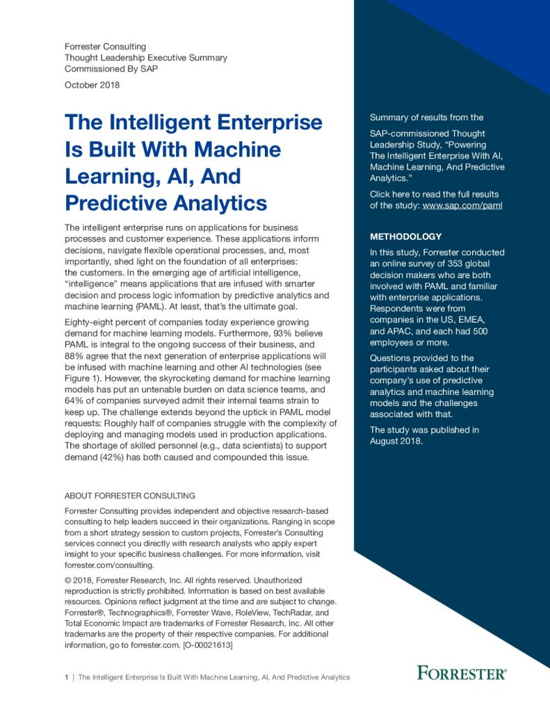 The Intelligent Enterprise Is Built With Machine Learning, AI, And Predictive Analytics