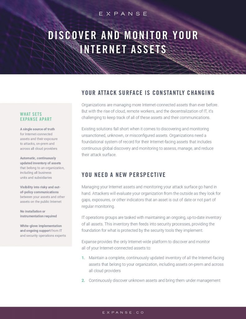 Discover And Monitor Your Internet Assets