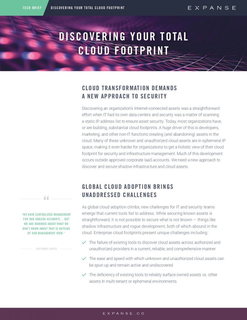 DISCOVER AND TRACK YOUR CLOUD FOOTPRINT