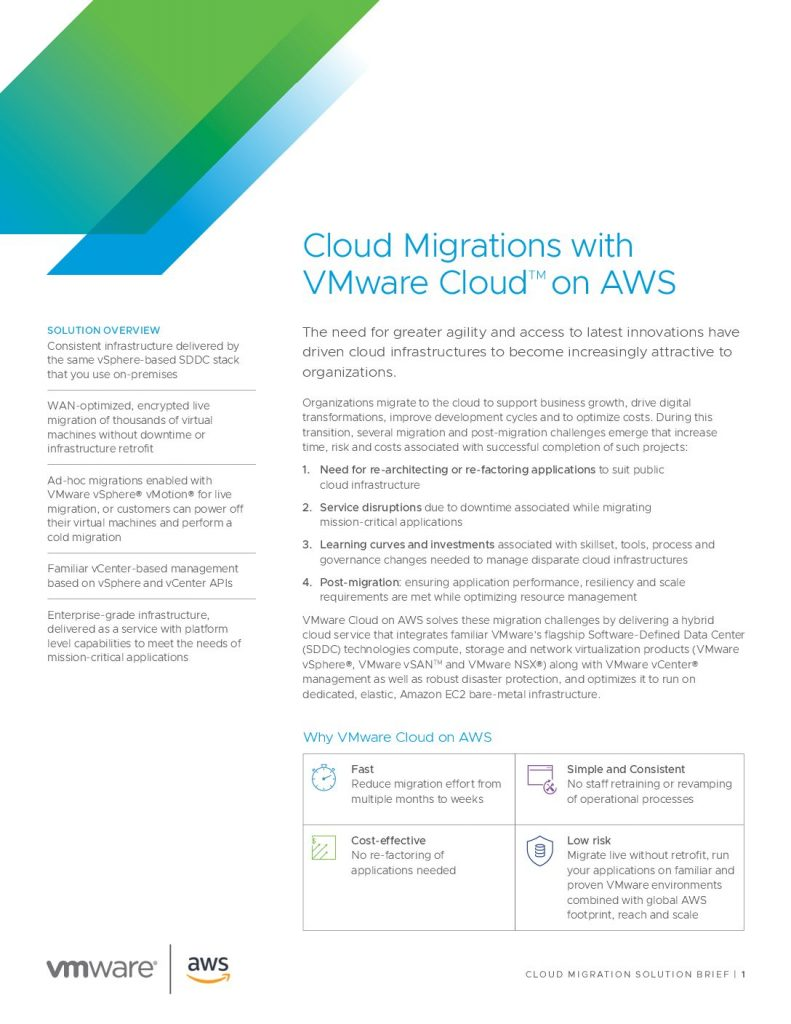 Cloud Migrations with VMware CloudTM on AWS Solution Brief