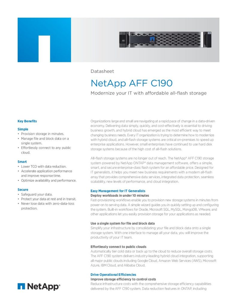 Datasheet: NetApp AFF C190. Modernize your IT with affordable all-flash storage