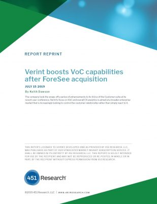 Verint boosts VoC capabilities after ForeSee acquisition