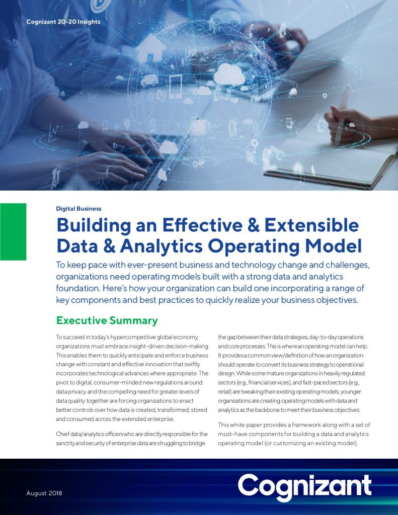 Building an Effective and Extensible Data  and  Analytics Operating Model