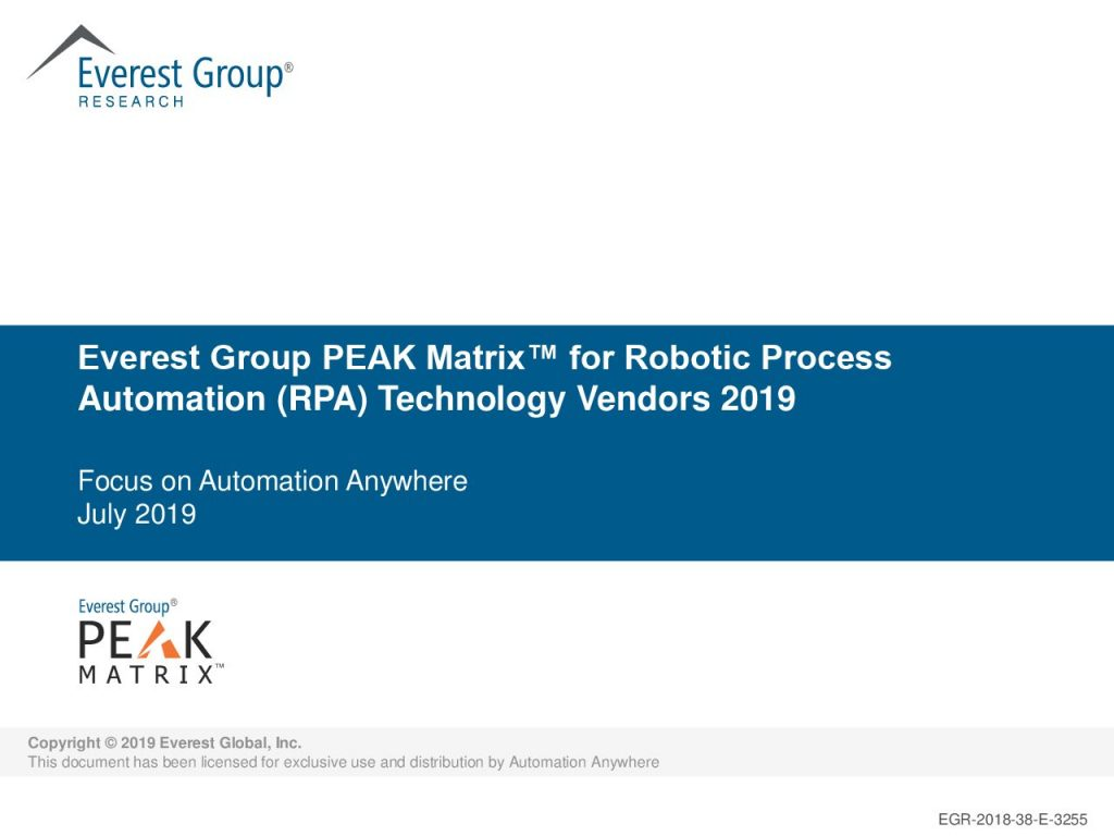 Everest Group PEAK Matrix for Robotic Process Automations (RPA) Technology Vendors 2019