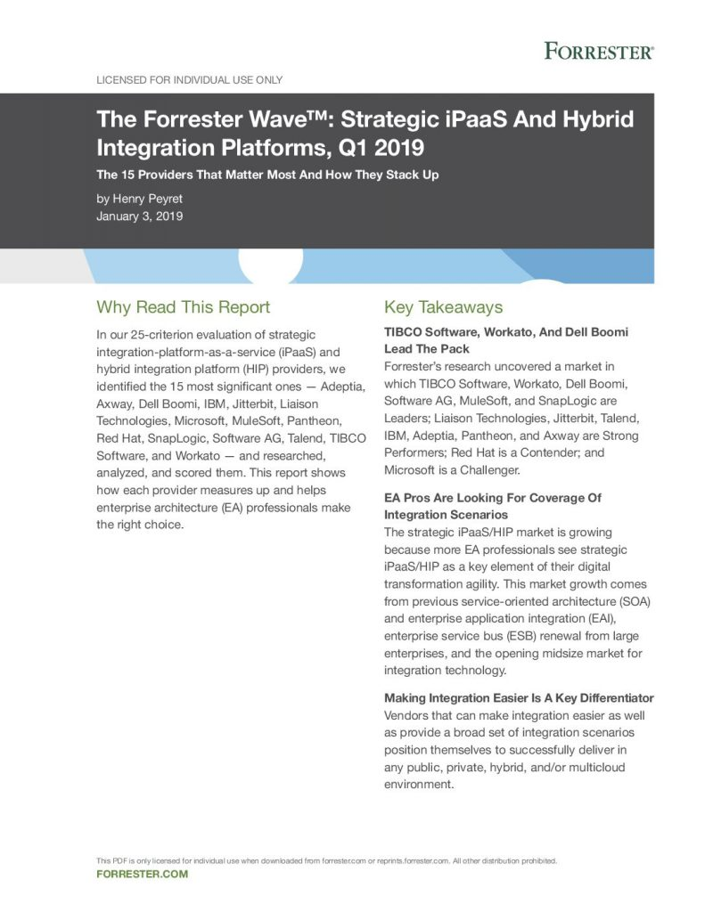 The Forrester Wave™: Strategic iPaaS And Hybrid Integration Platforms, Q1 2019