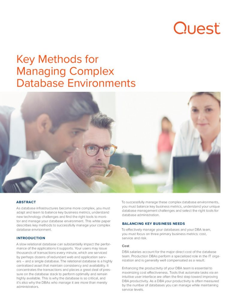 Key Methods for Managing Complex Database Environments