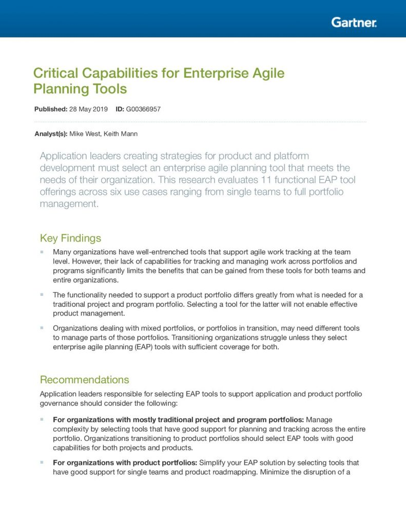 Critical Capabilities for Enterprise Agile Planning Tools