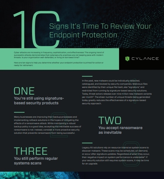 Ten Signs It's Time To Review Your Endpoint Protection