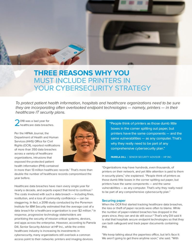 Three Reasons Why you must include Printers in your Cybersecurity Strategy