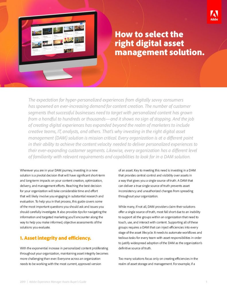 How to select the right digital asset management solution