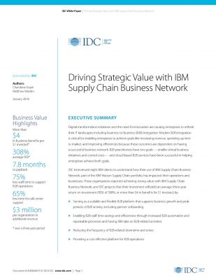 IDC Paper: Driving Strategic Value with IBM Supply Chain Business Network