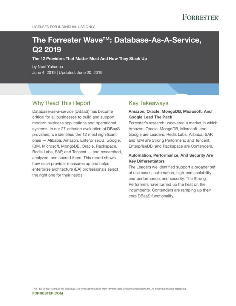 The Forrester Wave™: Database-As-A-Service, Q2 2019