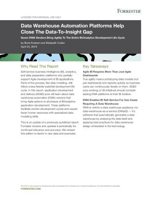 Forrester: Data Warehouse Automation Platforms Help Close the Data-to-Insights Gap