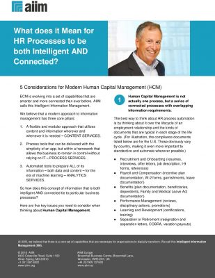 AIIM Tipsheet: What does it mean for HR Processes to be both Intelligent and Connected?