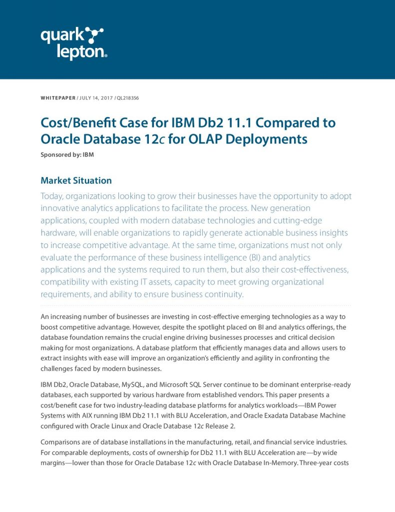 Cost/Benefit Case for IBM Db2 11.1 Compared to Oracle Database 12c for OLAP Deployments