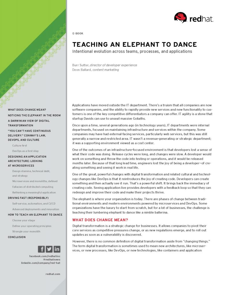 TEACHING AN ELEPHANT TO DANCE Intentional Evolution Across Teams, Processes, And Applications