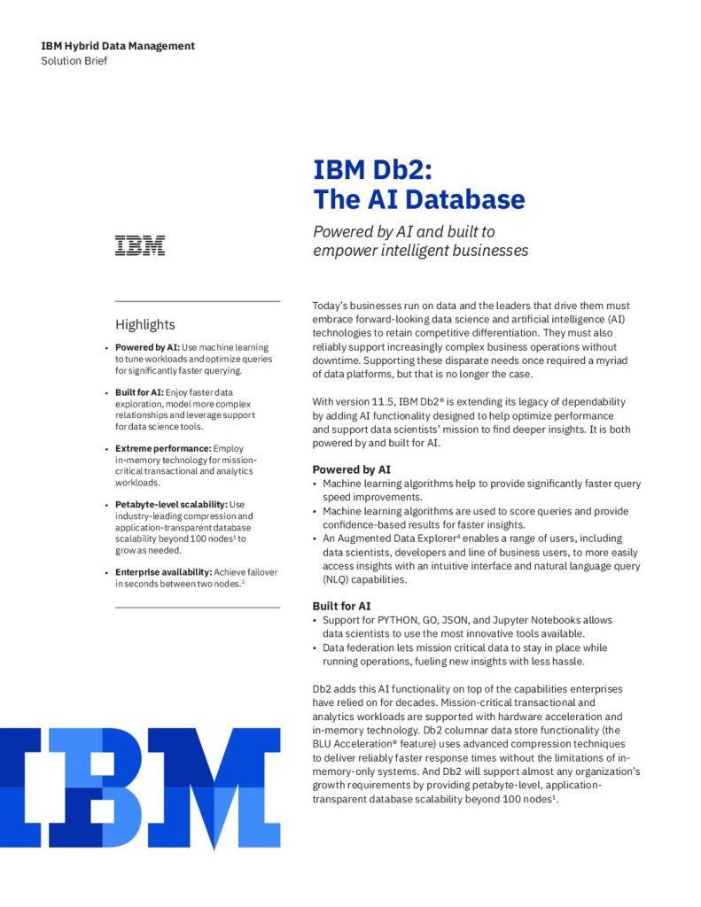 IBM Db2: The AI Database