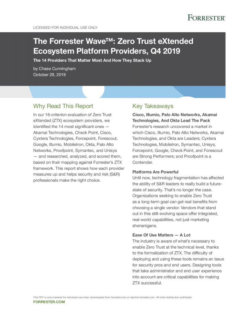 The Forrester Wave™: Zero Trust eXtended Ecosystem Platform Providers, Q4 2019