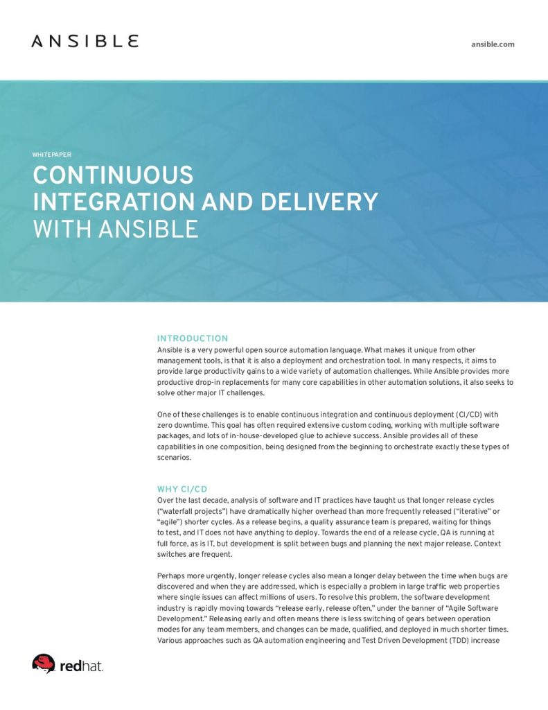 Continuous Integration and Delivery with Ansible