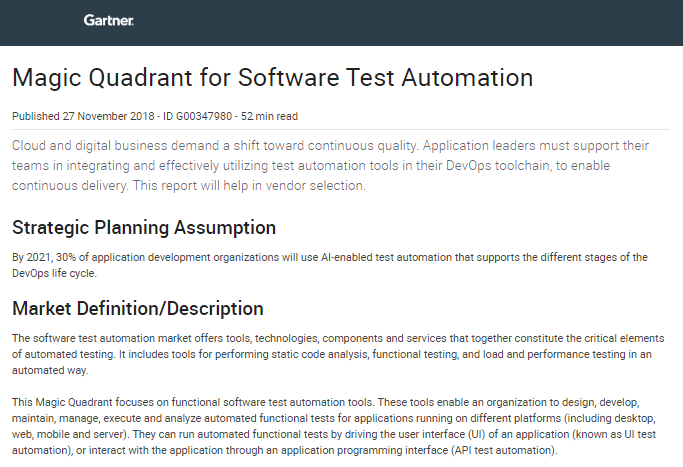 Analyst Report: Gartner MQ for Software Test Automation