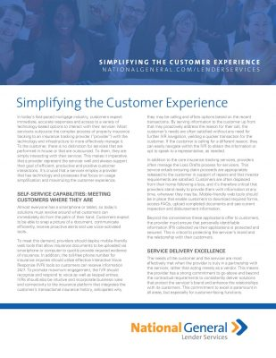 SIMPLIFYING THE CUSTOMER EXPERIENCE