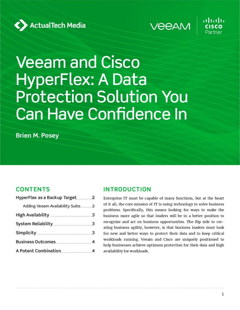Veeam and Cisco HyperFlex: A Data Protection Solution You Can Have Confidence In